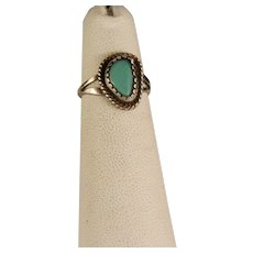 Vintage 1970's Sterling Silver and Turquoise Child's Ring Size 4 1/2