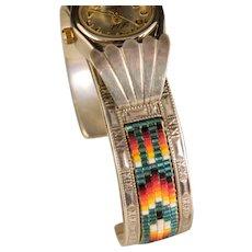 Vintage Navajo Beaded Sterling Silver Ladies Watch Bracelet