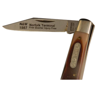 Rare N & W Railroad 1987 Safety Award Schrade Old Timer Knife