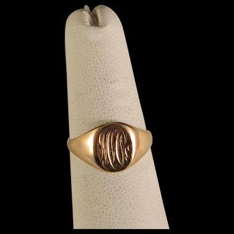 Vintage Estate Signet 10 K Yellow Gold Ring