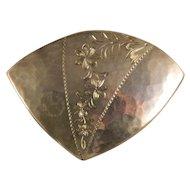 Vintage Sterling Silver Engraved Artisan Brooch Pin