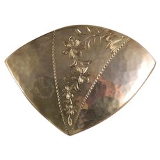 Vintage Sterling Silver Engraved Artisan Brooch Pin