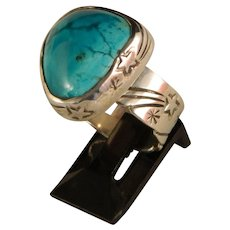 "Sterling Silver and Turquoise ""Shooting Star Ring""."