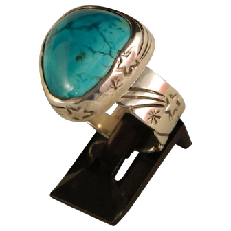 """Sterling Silver and Turquoise """"Shooting Star Ring""""."""