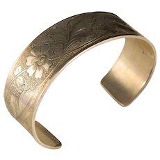 Vintage Engraved Sterling Silver Cuff Bracelet