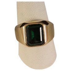 Vintage Mans Gold Emerald Ring