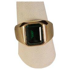 Vintage Mans Gold Emerald Ring