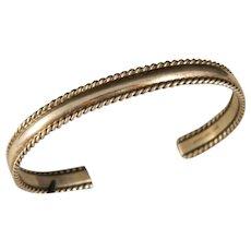 "Vintage Sterling Silver Navajo ""TAHE"" Cuff Bracelet"