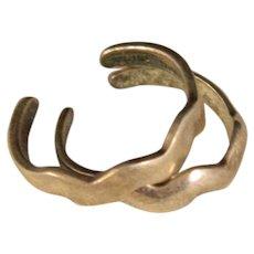 Vintage Pair of Sterling Silver Lighting bolt Toe Rings Adjustable