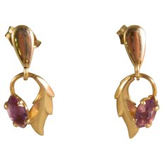 Estate Vintage 14 K Yellow Gold Amethyst Drop Dangle Leaf design Earrings