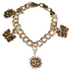 "Vintage Sterling Double link ""Butterfly and Sun"" Souvenir Charm Bracelet Size 6 Inch."