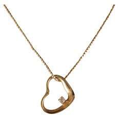 14 K Yellow Gold Heart and Diamond Pendant