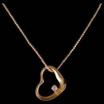 14 K Yellow Gold Heart and Diamond Pendant