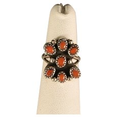 Vintage 1970's Navajo Coral and Sterling Silver Ring