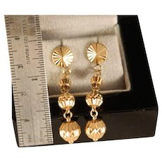 Vintage Estate 18 K Yellow Gold Ball Dangle Earrings