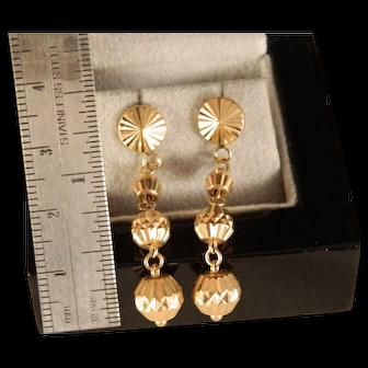 Vintage Estate 18 K Yellow Gold Ball Dangle Earrings