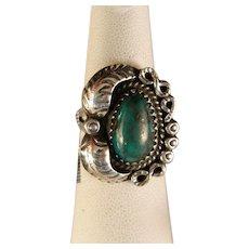 Vintage estate Navajo Cerrillos Green Turquoise Ring