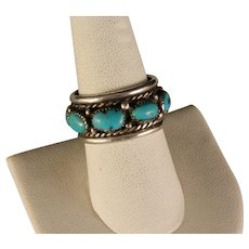 Estate 1960's Navajo Turquoise Sterling Silver Wedding Band
