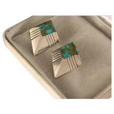 Vintage Estate Navajo Sterling Silver Turquoise Earrings