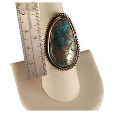 Vintage 1960's Navajo Morenci turquoise Sterling Silver Ring