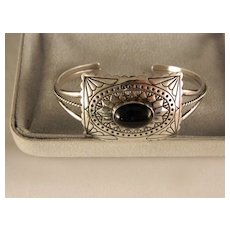 Vintage 1980's Black Onyx Sterling Silver Navajo Cuff Bracelet