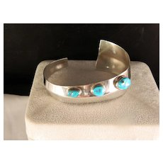 1970's Crafts Movement Turquoise and Sterling Silver Cuff Bracelet Crafts
