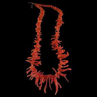 Vintage 1960's Red Orange Branch Coral Necklace