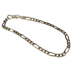 Vintage Sterling Silver Figaro Link Bracelet