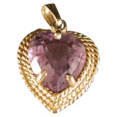 Vintage Amethyst Heart 14 K Gold Pendant