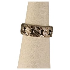 Vintage Sterling Silver Wide Woven Style Band