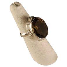 Large Estate Sterling Silver Smokey Quartz Fashion Ring