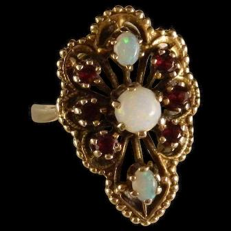 Vintage Estate 14 K Gold Fire Opal and Garnet Pagoda Ring