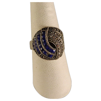Vintage Sterling Silver Lapis Marcasite Ring