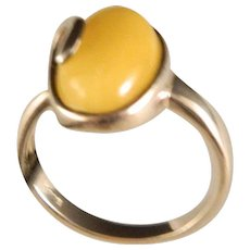 Vintage Sterling Silver and Honey Agate Ring