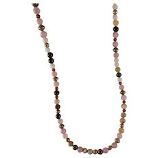 Vintage Gemstone Bead Sterling Silver Necklace