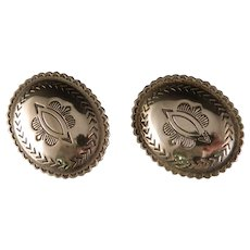 Vintage Navajo Concho Sterling Silver Clip on Earrings