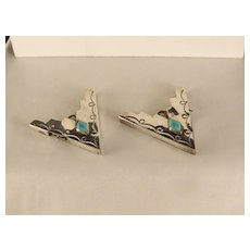 Vintage Navajo Sterling Silver Shirt Collar Tips