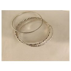 Vintage Set of Three Sterling Silver Estate Bangles