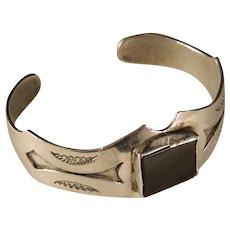 Vintage Sterling Silver Hopi Style Black Onyx Cuff Bracelet