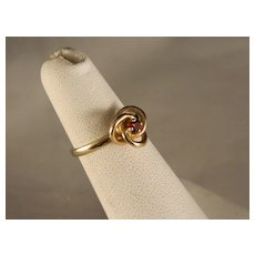 Vintage Child's 14 K Gold Trinity Knot Garnet Ring