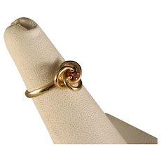 Vintage Child's 14 K Gold Trinity Knot Garnet Ring