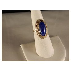 Vintage 1978 Egyptian Lapis 14 K Yellow Gold Ring