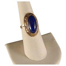 Vintage 1978 Egyptian Lapis 14 K Yellow Gold Ring