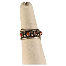 Vintage Zuni Red Coral Petit Point Ring Size 7