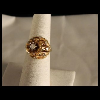 Vintage Estate 14 K Yellow Gold and Cluster Diamond Floral and Leaf Ring