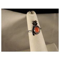 Vintage 1960's Sterling Silver Coral Southwest Ring