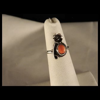 Vintage 1960's Sterling Silver Coral Southwest Ring