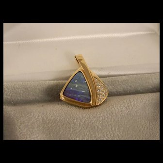Vintage Boulder Opal, Diamond and 14 K Yellow Gold Pendant
