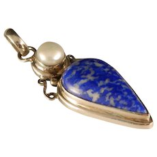 Vintage Sterling Silver Lapis Mabe Pearl Pendant