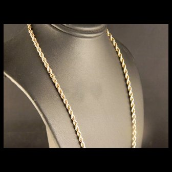 Vintage Solid 14 K Yellow Gold Rope Necklace Chain 16 IN.